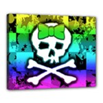 Rainbow Skull Canvas 20  x 16  (Stretched)