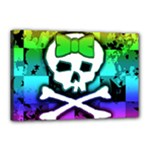 Rainbow Skull Canvas 18  x 12  (Stretched)