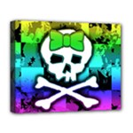 Rainbow Skull Deluxe Canvas 20  x 16  (Stretched)