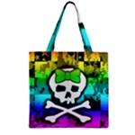 Rainbow Skull Zipper Grocery Tote Bag