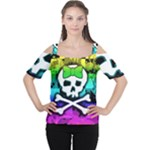 Rainbow Skull Cutout Shoulder Tee
