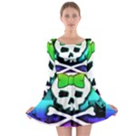 Rainbow Skull Long Sleeve Skater Dress