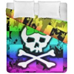 Rainbow Skull Duvet Cover Double Side (California King Size)