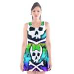 Rainbow Skull Scoop Neck Skater Dress