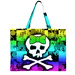 Rainbow Skull Zipper Large Tote Bag