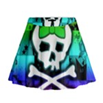 Rainbow Skull Mini Flare Skirt