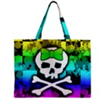 Rainbow Skull Zipper Medium Tote Bag