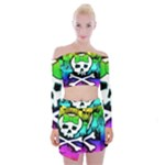 Rainbow Skull Off Shoulder Top with Mini Skirt Set