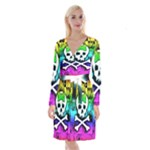 Rainbow Skull Long Sleeve Velvet Front Wrap Dress
