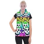 Rainbow Skull Women s Button Up Vest