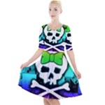 Rainbow Skull Quarter Sleeve A-Line Dress