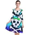 Rainbow Skull Quarter Sleeve Waist Band Dress