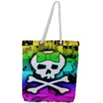 Rainbow Skull Full Print Rope Handle Tote (Large)