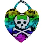 Rainbow Skull Giant Heart Shaped Tote