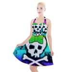 Rainbow Skull Halter Party Swing Dress