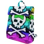 Rainbow Skull Flap Top Backpack