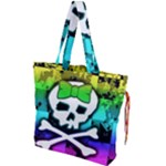 Rainbow Skull Drawstring Tote Bag