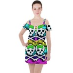 Rainbow Skull Ruffle Cut Out Chiffon Playsuit