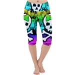 Rainbow Skull Lightweight Velour Cropped Yoga Leggings