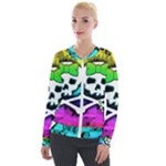 Rainbow Skull Velour Zip Up Jacket