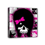 Scene Kid Girl Skull Mini Canvas 4  x 4  (Stretched)