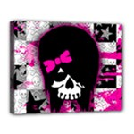 Scene Kid Girl Skull Canvas 14  x 11  (Stretched)