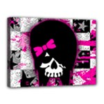 Scene Kid Girl Skull Canvas 16  x 12  (Stretched)