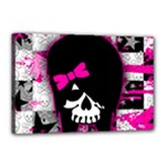 Scene Kid Girl Skull Canvas 18  x 12  (Stretched)