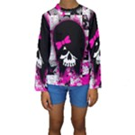 Scene Kid Girl Skull Kids  Long Sleeve Swimwear