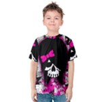 Scene Kid Girl Skull Kids  Cotton Tee