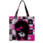 Scene Kid Girl Skull Zipper Grocery Tote Bag