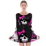Scene Kid Girl Skull Long Sleeve Skater Dress