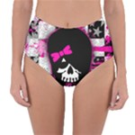 Scene Kid Girl Skull Reversible High-Waist Bikini Bottoms