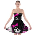 Scene Kid Girl Skull Strapless Bra Top Dress