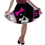Scene Kid Girl Skull A-line Skater Skirt