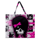 Scene Kid Girl Skull Zipper Large Tote Bag