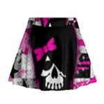 Scene Kid Girl Skull Mini Flare Skirt