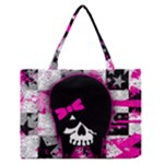 Scene Kid Girl Skull Zipper Medium Tote Bag