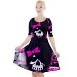 Scene Kid Girl Skull Quarter Sleeve A-Line Dress