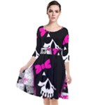 Scene Kid Girl Skull Quarter Sleeve Waist Band Dress