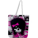 Scene Kid Girl Skull Full Print Rope Handle Tote (Large)