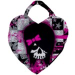 Scene Kid Girl Skull Giant Heart Shaped Tote