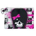 Scene Kid Girl Skull Canvas Cosmetic Bag (XL)