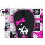 Scene Kid Girl Skull Canvas Cosmetic Bag (XXL)