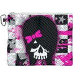 Scene Kid Girl Skull Canvas Cosmetic Bag (XXXL)