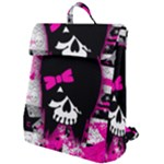 Scene Kid Girl Skull Flap Top Backpack