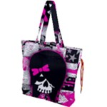 Scene Kid Girl Skull Drawstring Tote Bag