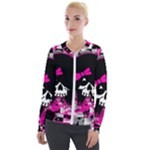 Scene Kid Girl Skull Velour Zip Up Jacket