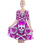 Skull Princess Quarter Sleeve A-Line Dress