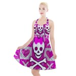 Skull Princess Halter Party Swing Dress